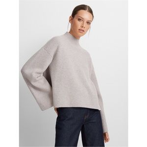 Club Monaco Women's Cashmere Blend Grey Mock Neck Sweater
